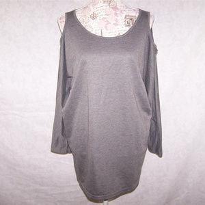 ALLEGRA K Shirt Top M Cold Shoulder Cut Out Gray
